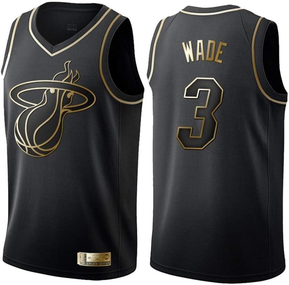 Shelfin - Camiseta de baloncesto de la NBA de Miami Heat del número 3 Wade, transpirable, grabada, color Negro C, tamaño Small