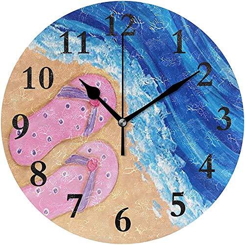 Beach Party Paint Silent Non Ticking Runde Acryl Wanduhr Dekorative Uhr Art