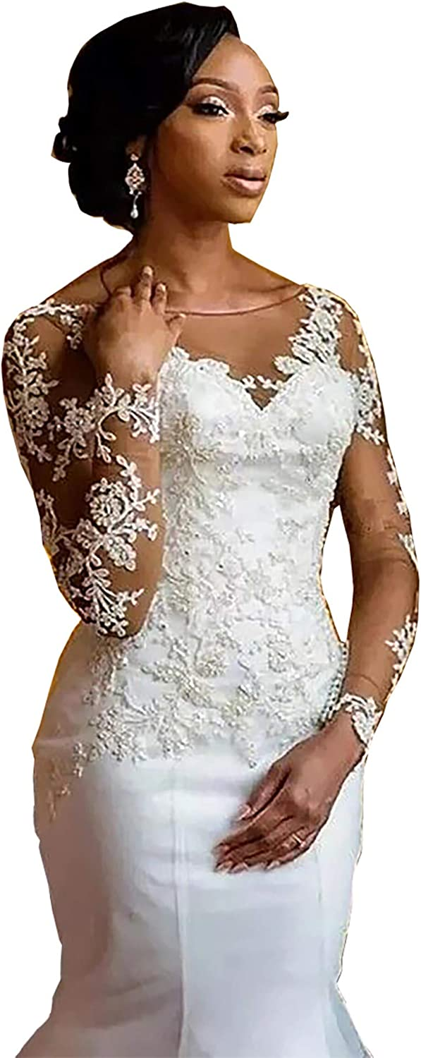 iluckin Women's Lace Tulle Long Sleeves Mermaid Wedding Dresses with Train for Bride Bridal Gowns Plus Size