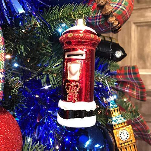 Rode glazen brievenbus kerstboom decoratie