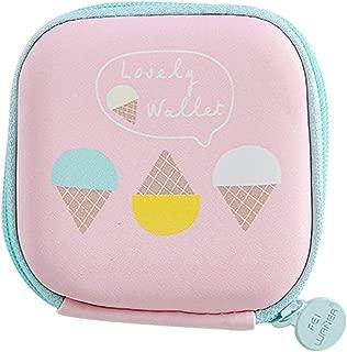 Transer Fashion Cartoon Fruit Print Mini Round Storage Case Bag For Earphone Headphone Change Card Package Storage Bag - Pink