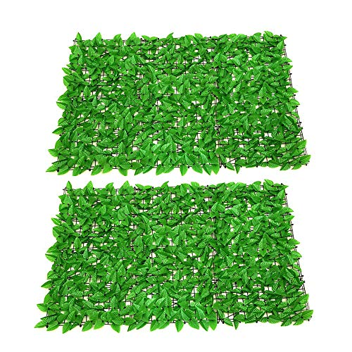 AZXAZ Artificial Leaf Hedge Screening Expandable Fence Trellis Ivy Leaves Panels Privacy Balcony Screening Roll For Garden Yard Party 0.5x1m-Green 2pcs