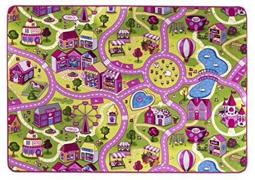 andiamo Straßenteppich/Spielteppich Sugar Town, Pink, Rosa, GUT/Prodis geprüft, weich, Größe:140 x 200 cm
