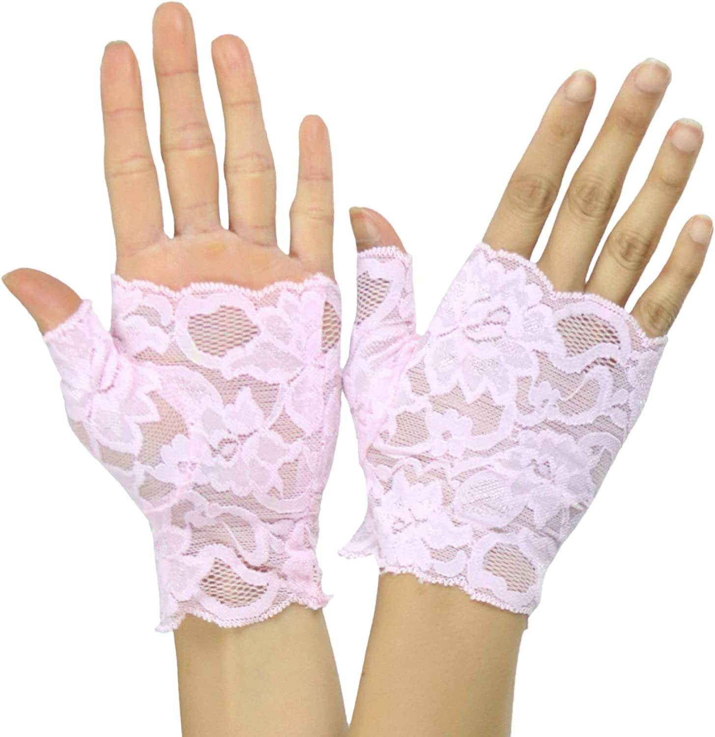 ToBeInStyle Women's Elegant Delicate Colorful Lace Fingerless Wrist Gloves