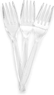 Plasticpro Clear Plastic Forks Disposable Cutlery Medium Weight Utensils 50 Count