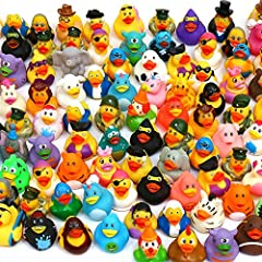 Duckies, Baby Bath Toys, (100-Pack) Assorted Rubber Ducks; Bath Toys, Bath Toy Assortment, Rubber Duck Assortment (100 Pk) Mixed Assorted Rubber Ducks; Rubber Duckies are Fun Safe Bath Toys For Kids; Bulk Rubber Ducks Rubber Duck Styles Are Great For...