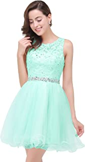 Junior's Short Homecoming Dress Lace Applique Bridesmaid Prom Party Gown