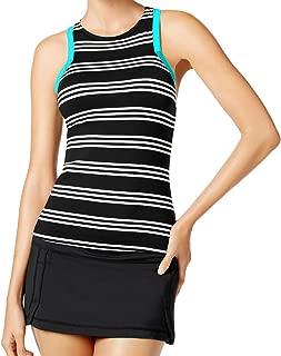 2 Piece Tankini Set - High Neck Harbour Stripe Racerback Top & Swim Skirt Black XS