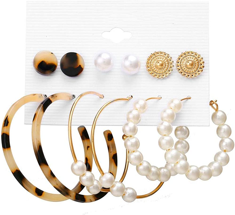 BEUU 6 Pairs Fashion Tassel Earrings Set for Women Girls Bohemian Acrylic Hoop Stud Drop Dangle Earring Leather Leaf Earrings for Birthday/Party/valentine's/Friendship Gifts