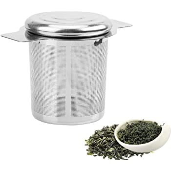iTimo - Colador de té reutilizable de malla fina, con 2 asas, tapa de acero inoxidable, filtro de té y café