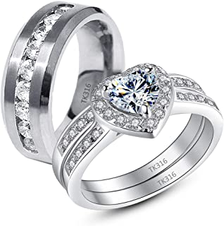 MABELLA 3 Pcs Hers His Stainless Steel Women Heart Cut Cubic Zirconia CZ Wedding Engagement Bridal Rings Set Size 5-10& Men Matching Band Size 9-13 for Couple Promise Ring Anniversary Gifts