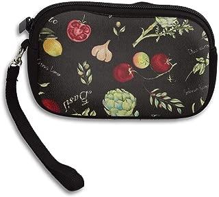 Wallet Lemon, Tomato, Garlic Coin Purse Slim Minimalist Stylish Travel Pouch Cosmetic Bag Men Women Mini Purse