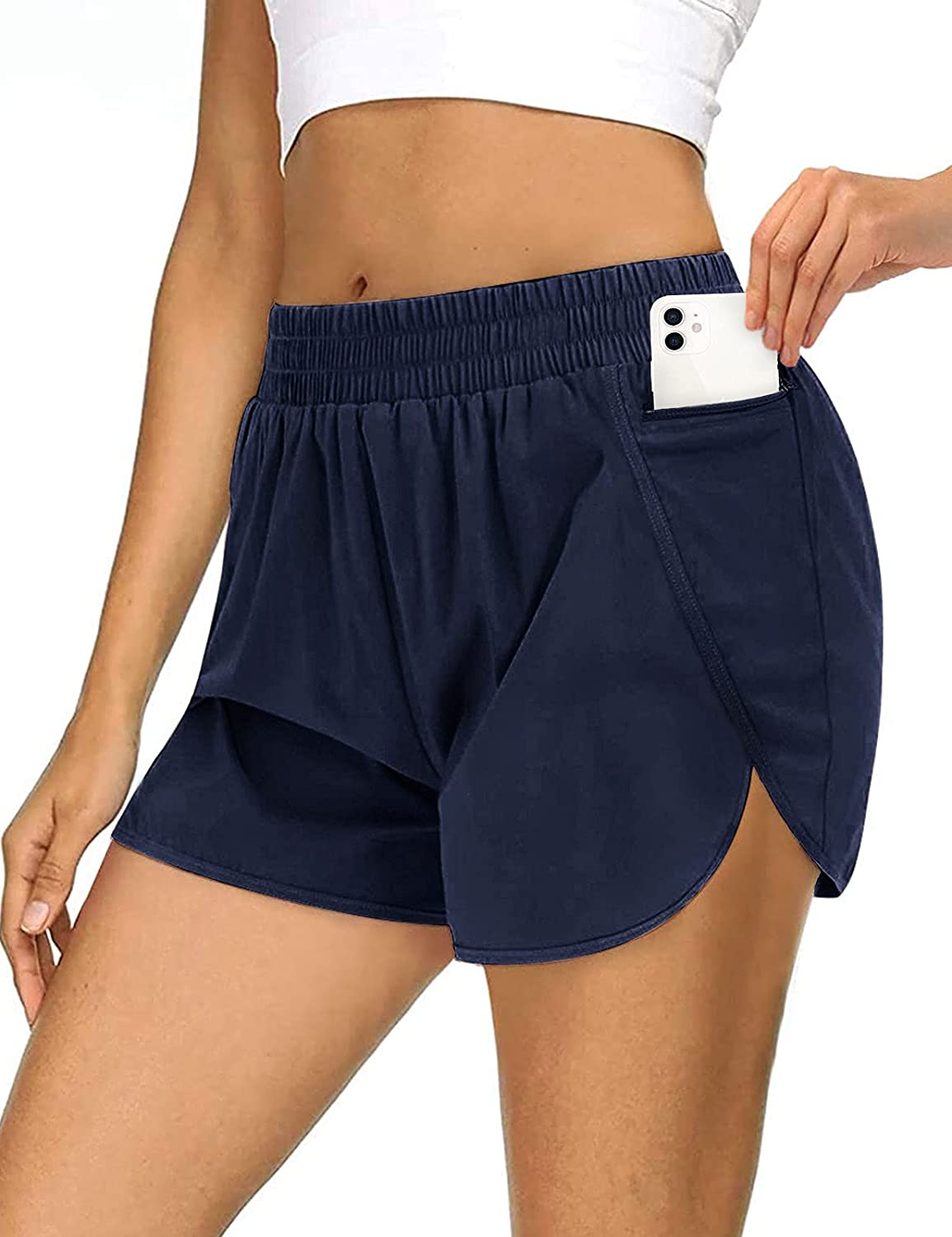 MEROKEETY Womens Athletic Quick-Dry Workout Shorts Elastic Waist