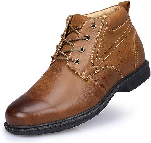 Chaussures en cuir Plus Bottes de neige en velours pour hommes Couche de prougeection en cuir Chaussures rehaussantes convenant au voyage Garder au chaud ( Couleuré   marronhigh , Taille   41EU(7UK) )