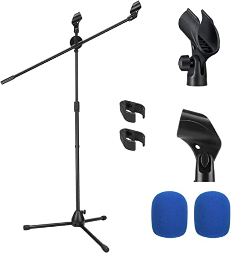 Support de Microphone Moukey Pied de Micro avec Perche, Support Double Microphone avec 2 Pince Micro et 2 Couvercles ...
