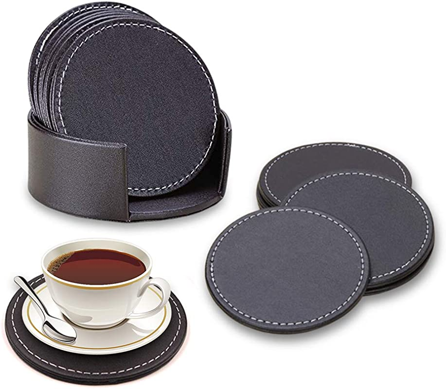 6 Pcs Of Coasters For Drinks Leather Coasters Round Coffee Coasters Anti Scratch Coasters Fits Any Size Cup To Protect Your Home Furniture From Dirty And Scratched