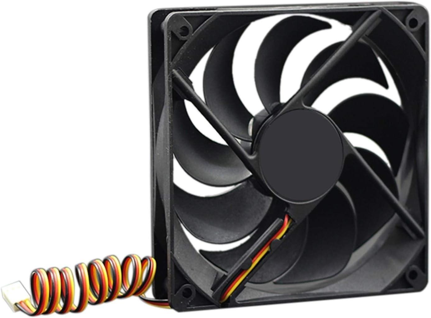 Tranquilo Ventilador De Enfriamiento De 12V para PC 2-Pin 12 Cm Computadora CPU Radiador Radiador Sin Escleos Fan Fácil de Transportar e Instalar (Blade Color : Black)