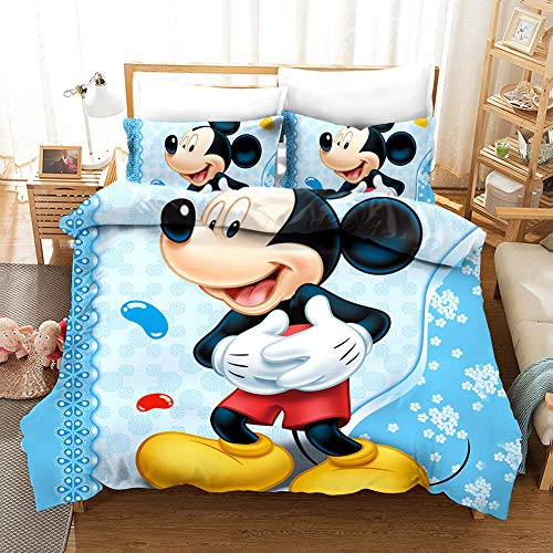 Cartoon & Mickey 3D Duvet Set 3D Duvet Covers Printed Kids Children Dragon Duvet Cover Set with 2 Pillowcases Bedding Set with Zipper Closure Double Super King (230X260 cm)