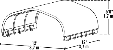 ShelterLogic 12' x 12' Corral Shelter and Livestock Shade Waterproof and UV Treated Universal Cover for Horses, Goats