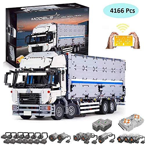 LODIY Technik LKW mit Container Auto Ferngesteuert mit 8 Motoren - 4166 Teile Technik Bausteine Auto Klemmbausteine Modellbau Kompatibel mit Lego