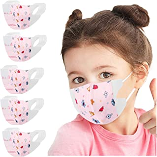 Sugarbig 50PC Disposable Face Guard for Kids Children, Pink Elves Cartoon Pattern Kids Oral Protection Ear Loop Filter Dustproof Facial Protector, High Filtration and Ventilation Security(0-3 Years)