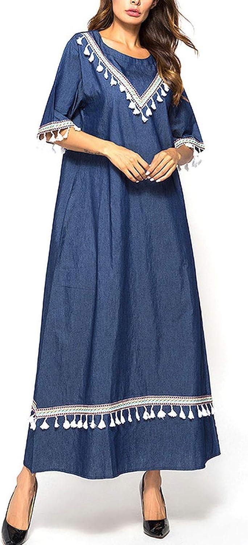 Denim Long Dress AnkleLength Maxi Dresses Webbing Patchwork Women Dress Summer bluee Casual Arab