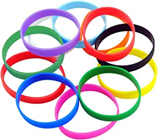 M-online Silicone Bracelets Blank Adult Rubber Wristbands Mixed Colors 12pcs/Pack Party Accessories Favor