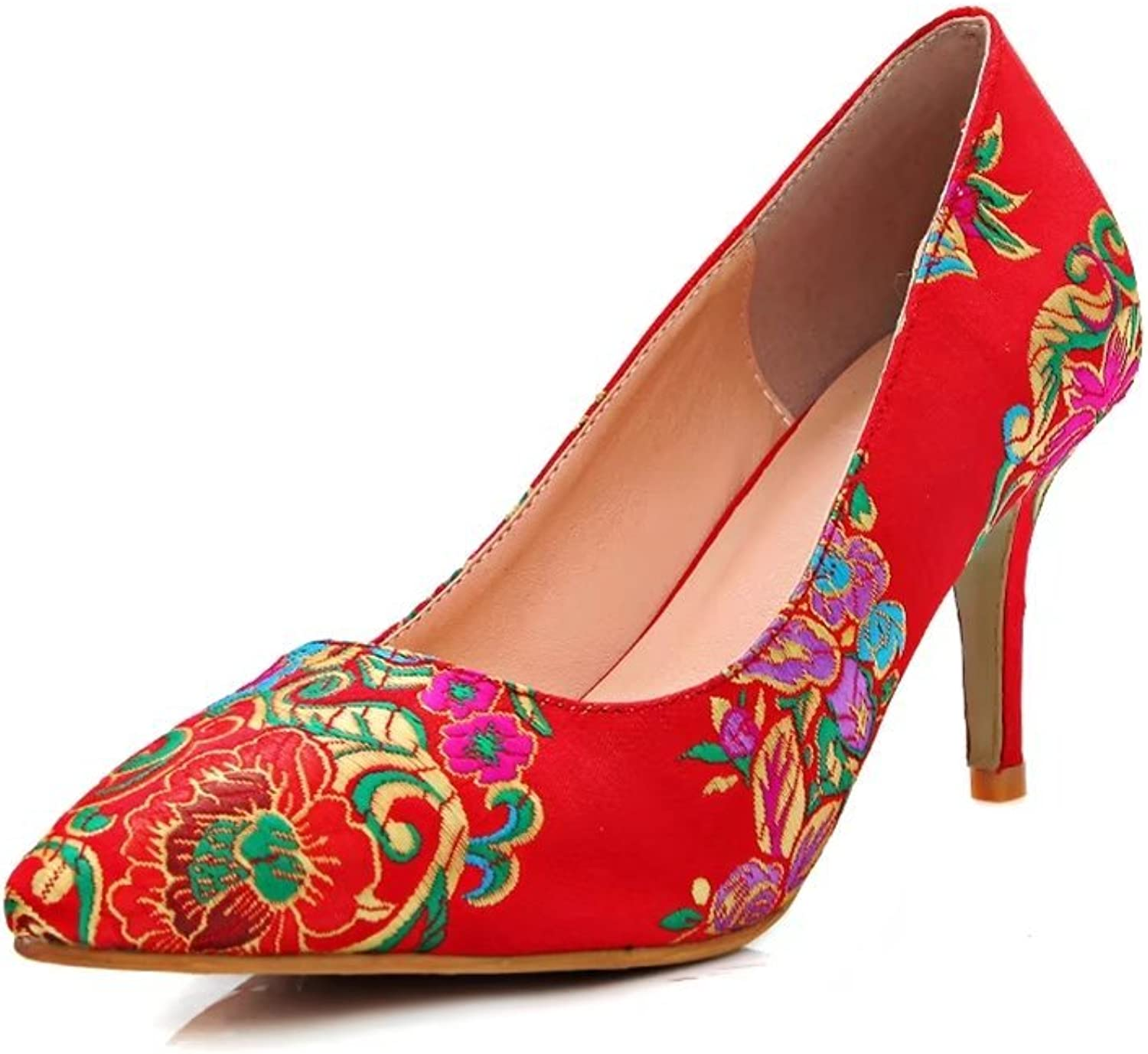 KingRover Women's Embroidery Slip On Low Heel Sexy Pointed Toe Pumps shoes