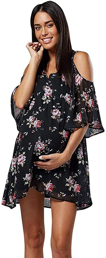 Women Summer Cold Shoulder Fare Sleeve Floral Chiffon Maternity Dress Casual Short V Neck Knee Length Baby Shower Mini Dress