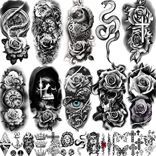 LAROI 22 Blätter Realistisch Rose Blume Temporäre Tattoos Frauen Mädchen Arm, Halloween Schädel Dämon Schlange Tattoo Aufkleber Erwachsene, Tribal Schwarz Uhr Blumen Fake Tattoos Kreuz Schmetterling