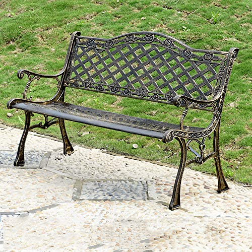 Patio bench park garden bench outdoor metal double seat, Antique Finish Park Chair with cast aluminum frame, Accented Lawn Front Path Deck Furniture, Leisure entrance bench with backrest and armrest