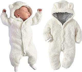 Newborn Baby Boy Girl Bear Ear Hoodie Romper Stripe Winter Fleece Warm Jumpsuit