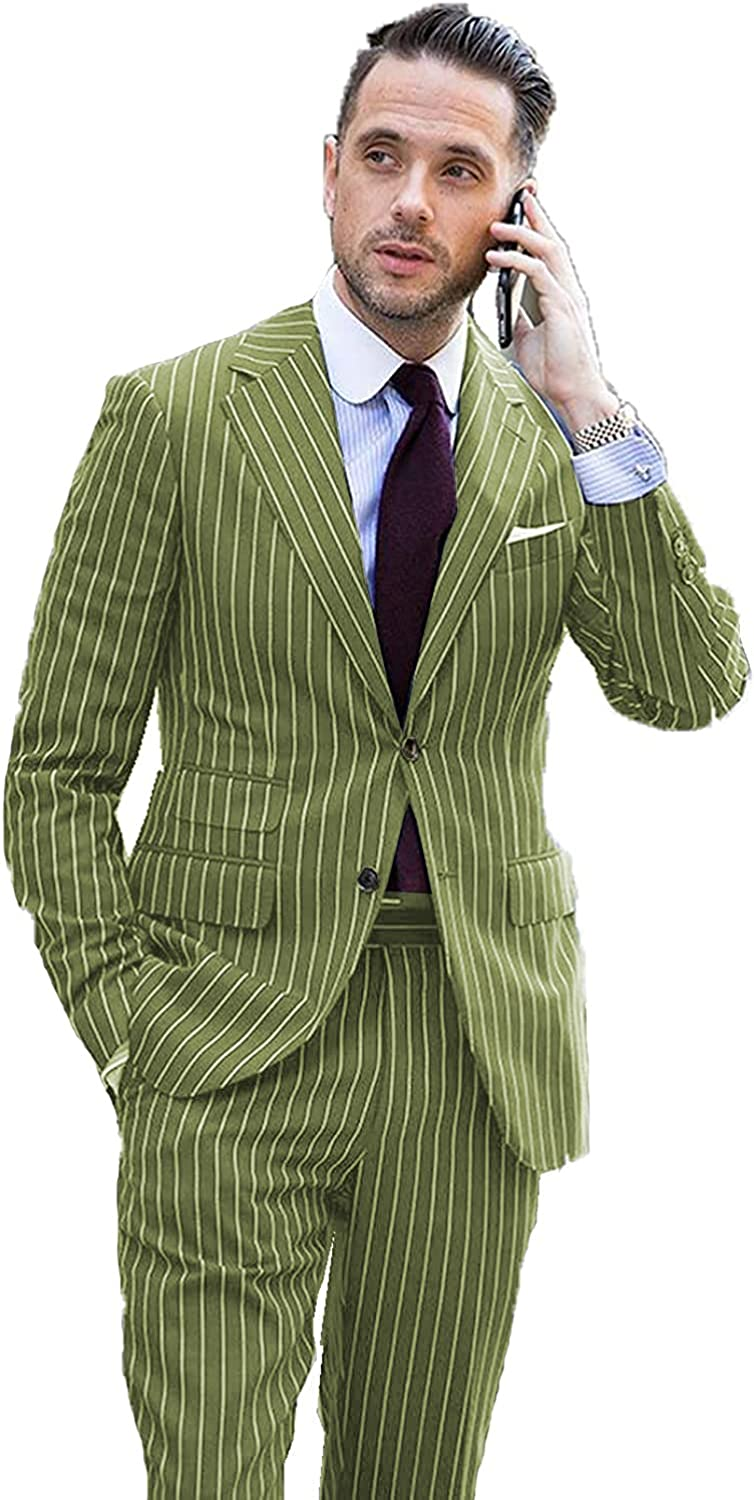 Men's Suits 2 Piece Striped Formal Casual Tuxedo Notched Lapel Slim Fit Blue Business Groom for Wedding Blazer Pants