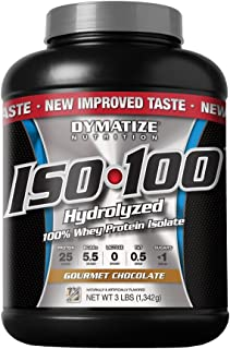 Dymatize ISO 100 Post Workout and Recovery Supplements, Gourmet Chocolate, 3 lbs (Pack of 6)