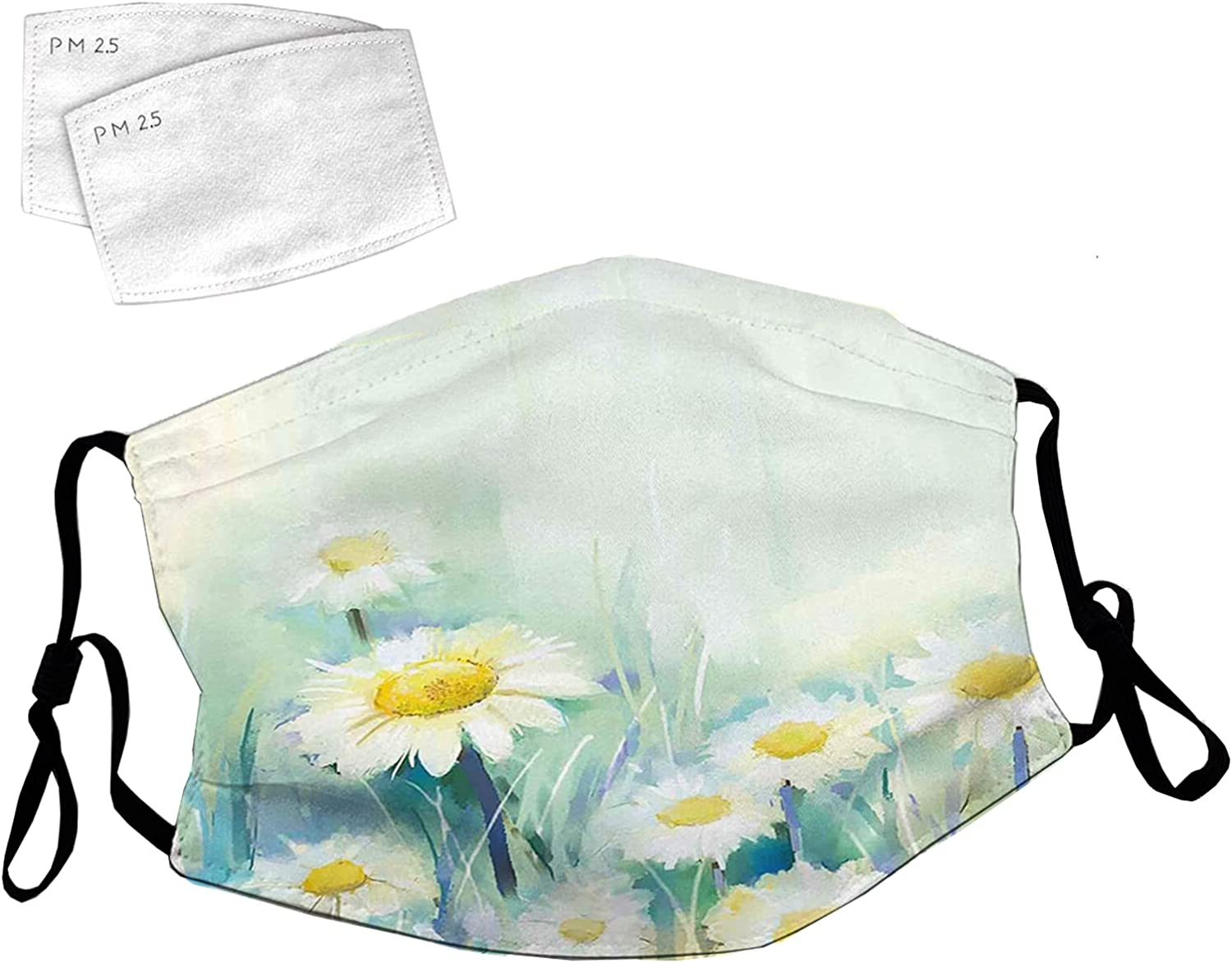 Reusable Face Mask with Adjustable Japan Maker New Ear Charlotte Mall Loops Grass Daisies Mo on