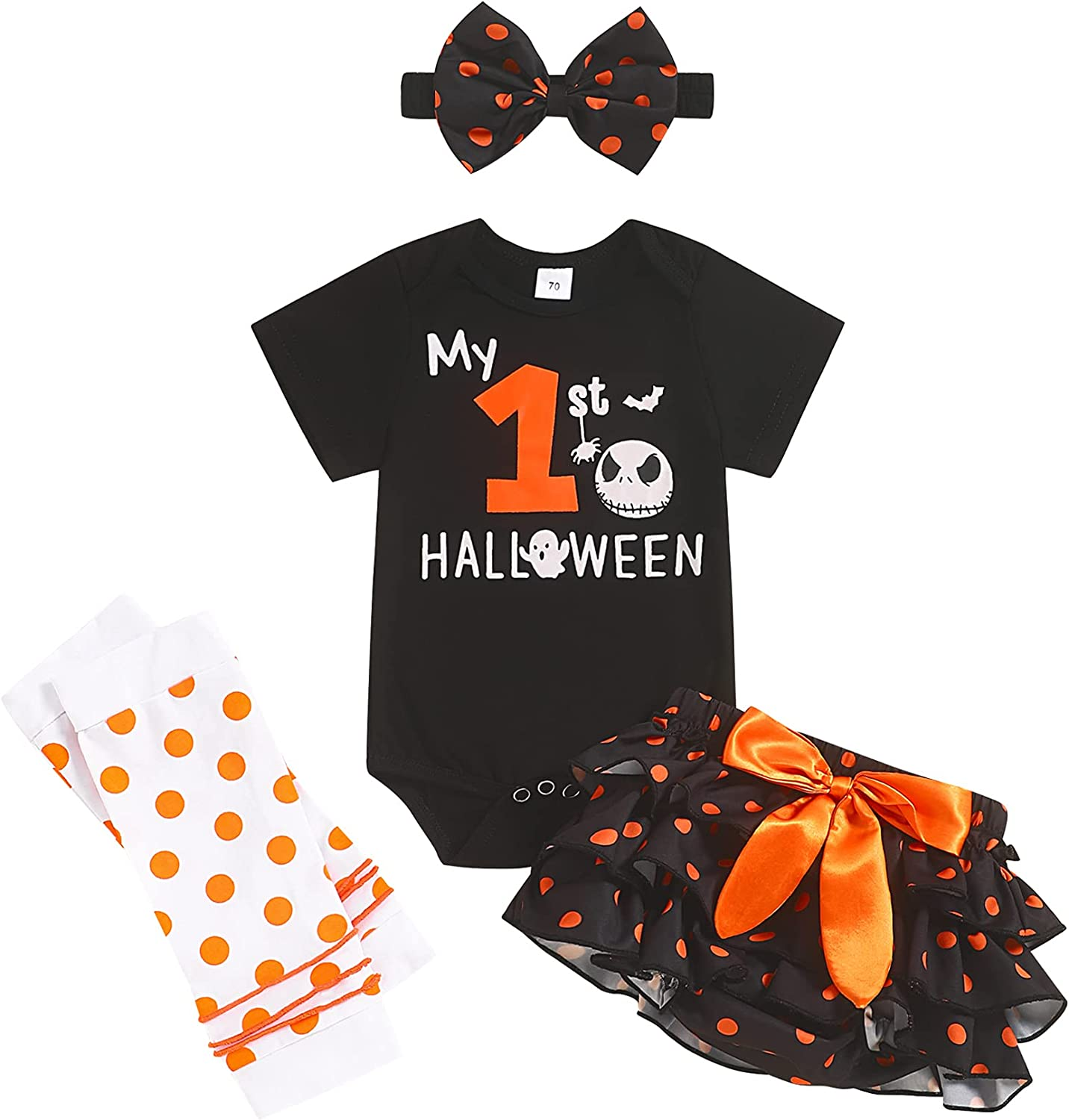 My First Halloween Outfits Baby Girl Newborn Skull Print Romper Dots Shorts with Leg Warmer Clothes Sets