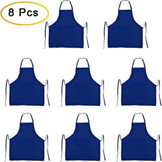 GNYO 8 PCS Bulk Aprons for Women Men with Pockets Bib Apron for Cooking BBQ Baking Crafting Restaurant - Adult Size (Blue)