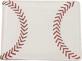 BallPark Leather White Baseball Seam Bi-Fold Wallet