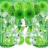 Recosis Decoraciones para Fiesta de Cumpleaños, Pancarta Verde de feliz Cumpleaños, Cortinas, Pompones y Abanicos de Papel, Guirnalda, Globos de Confeti para Decoraciones de Fiesta de Cumpleaños