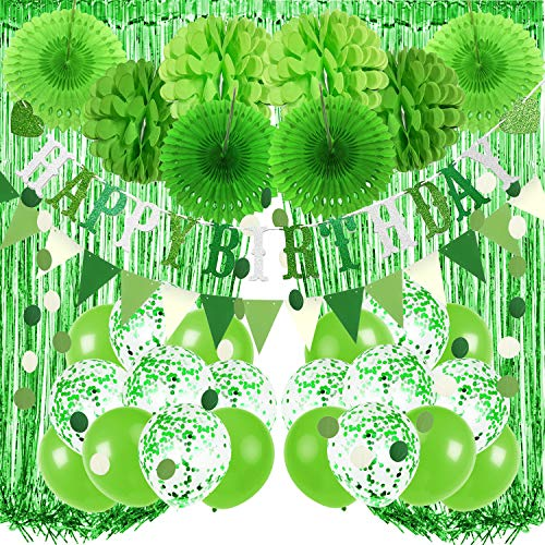 Recosis Birthday Party Decorations, Green Party Decorations for boy Girls Men Women, Happy Birthday Banner, Curtains, Paper Pompoms and Fans, Garland, Confetti Balloons for Birthday Party Decorations