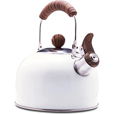 ROCKURWOK Tea Kettle, Stovetop Whistling Teapot, Stainless Steel, Pearl White, 2.43-Quart
