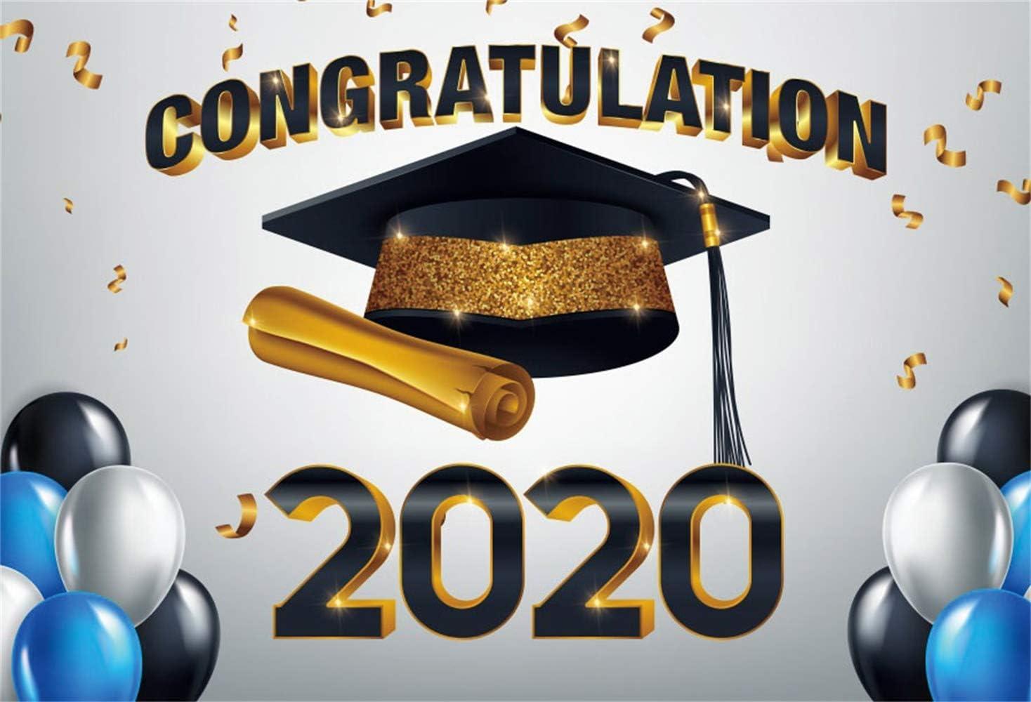 2019 Graduation Backdrop 5x3ft Trencher Cap Polyester Photography Background Glitter Golden Grad Cap Diploma Confetti Class Grad Ceremony Celebrate Party Prom Photo Prop Studio Decor Poster