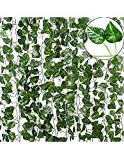 TDas Artificial Ivy Garlands Leaves Greenery Hanging Vine Creeper Plants for Home Decor Main Door Wall Balcony Office Decoration Party Festival Craft -Each 6.7 ft