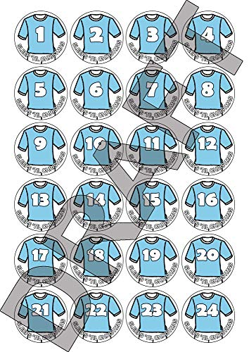 24, 48 of 72 kerst adventskalender stickers - voetbalshirt ontwerp - Hemelsblauw / Wit, nummers met Slaapt tot Kerst (24)