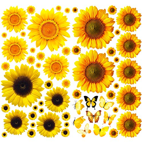 Sunflower Wall Decals with Butterfly, 58 Pcs Waterproof Yellow Flower Wall Mural Removable Sunflower Decor Stickers for Nursery Baby Kids Bedroom Living Room Bathroom Kitchen Decoration