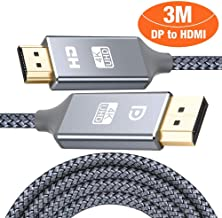 DisplayPort (DP) to HDMI Cable 3M,Snowkids Display Port to HDMI Lead 4K @30Hz UHD Nylon Braided Gold-Plated Cord for PC, Laptop-etc