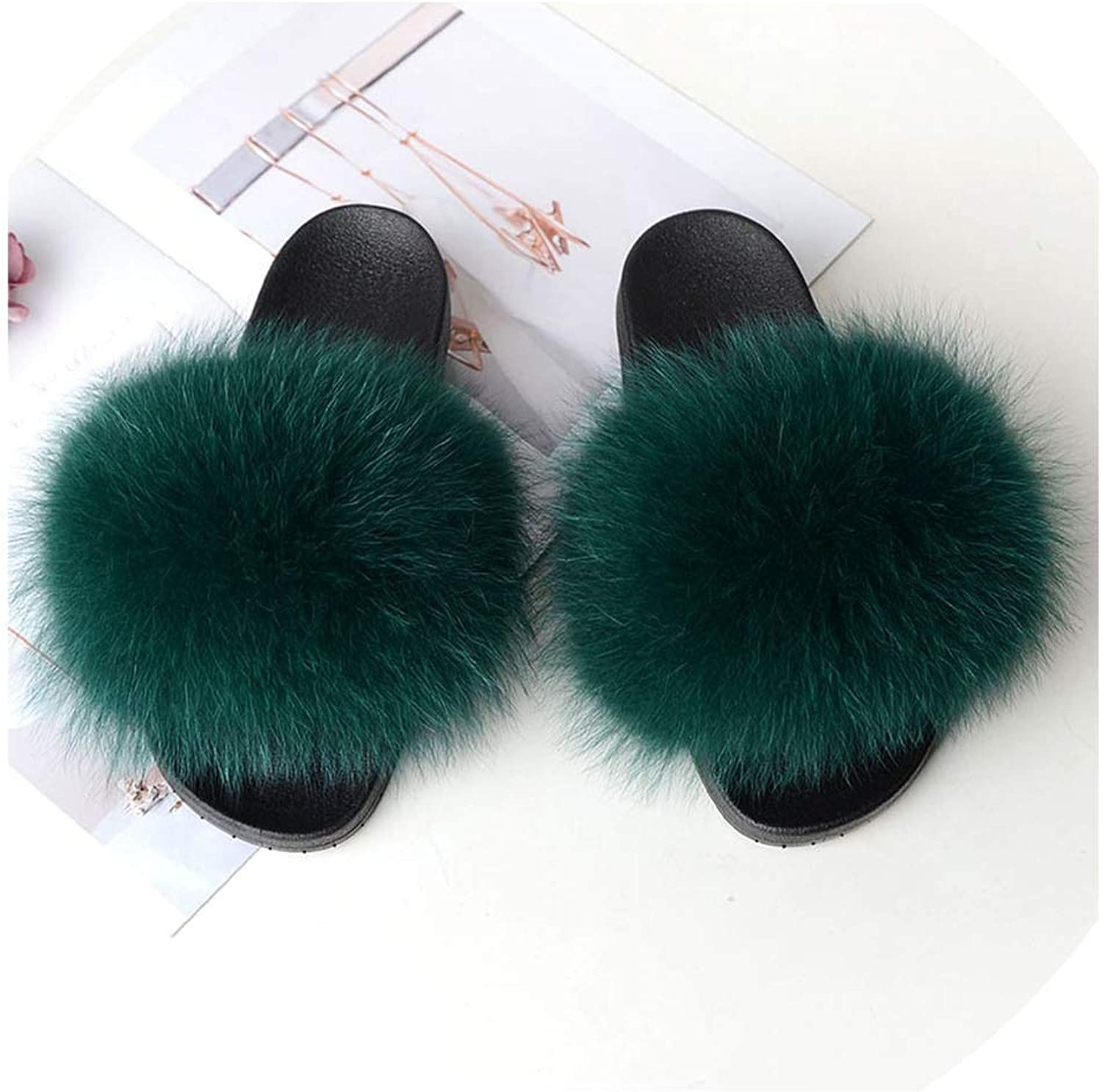 Real Fox Fur Slides Summer 2019 Open Toe Fluffy Real Hair Slipper Slip On Flip Flops Furry shoes,20,131