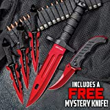 Black Legion Red Fury Knife Set - Stainless Steel Blades, Heavy-Duty TPU Handles, Sheaths Included, Survival, Throwing and Pocket Knives