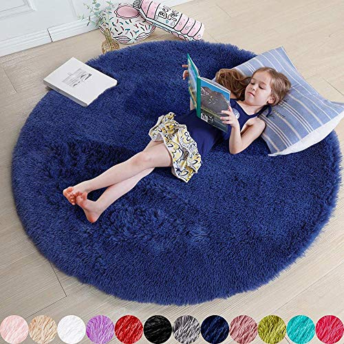 YYQLLXH Alfombra Redonda Suave y esponjosa para niños y niñas alfombras de jardín de Infantes para Adolescentes Dormitorio Sala de Estar decoración del hogar 40 x 40 cm- 60 cm_Navy Blue