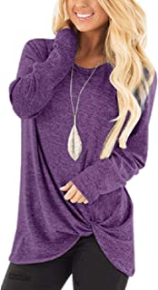 Womens Side Twist Knotted Tops Casual Tunic Shirts